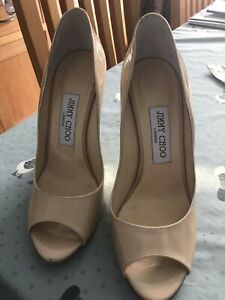 Jimmy Choo London Wedge Patent Open Toe Nude Size 37 VGC SEE PICS