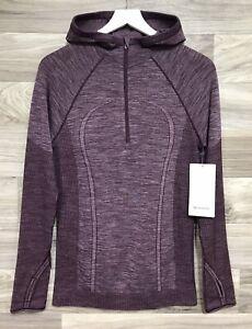 Lululemon Swiftly Wool 1/2 Zip Hoodie Size 10 Dark Adobe / White DKAD/WHT  77505