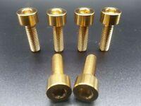 6 Pcs Ti Titanium MTB Gold Socket Head Bolts Disc Brake Adapter Mount M5x16mm