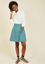 NWOT ModCloth Cleaver Contribution Teal Skirt A-line Size Small