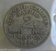 2 francs état français 1944 : B : pièce de monnaie française
