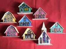 1970s Vintage 8 Piece Kitsch Christmas Plastic Light Up ALPINE VILLAGE HOUSES