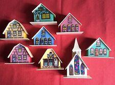 1970s Vintage 8 Piece Kitsch Christmas Plastic Light Up ALPINE VILLAGE HOUSES