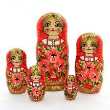 5 Poupées russes H19 peint main signé Matriochka Nested Doll Matrioshka Gigognes