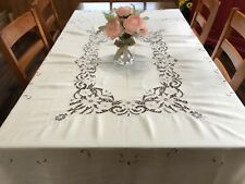 """Vintage Madeira Floral Embroidery 68x84"""" Rectangle Linen Tablecloth (RF828)"""