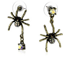 "Betsey Johnson ""Dark Forest"" Crystal Spider Drop Earrings"