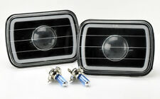 "7x6"" H4 Black Projector CCFL White Halo Glass Headlight Conversion w/ Bulbs Plym"