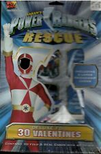 Vintage Foil Power Rangers Rescue Valentine's 30 Count Cards - New In Box
