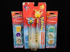 Pokemon Pikachu & Blastoise Pencil Toppers & 2 Packages of Erasers