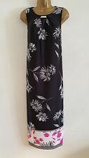 NEW ExEv-ns Plus Size 14-28 Border Hem Floral Midi Dress Black White Pink Print