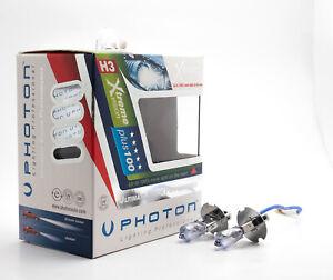 Photon H3 Xtreme Vision Xenon 5000K White Halogen Bulb - 100% Brighter, Pack 2
