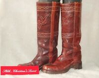 FRYE VINTAGE USA Women's Boots Distressed Maroon Western Leather Sz 7.5 N *VG++