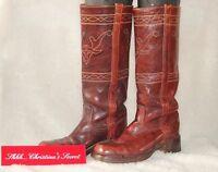 FRYE VINTAGE USA Women's Boots Distressed Maroon Western Leather Sz 7.5 N *VG++