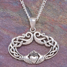 925 Sterling Silver CLADDAGH Heart Hands Pendant Celtic LOVE Knot Work Necklace