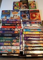 VHS VCR Video Tape Lot Huge Collection 32 Movies Disney Kids Cartoons USED
