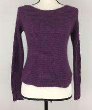 Eileen Fisher Alpaca Silk Horizontal Rib OCHRE Shaped Sweater PP $338 Purple