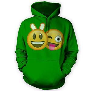 Bunny Ears Emoji Hoodie -x12 Colours- Mock Selfie Smiley Mates Funny