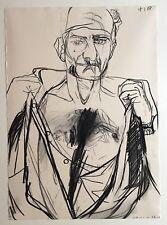 Beringer Gérard fusain dessin sur papier signée 1988 art expressionnisme
