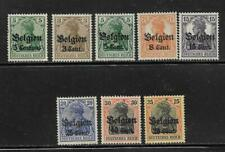 Belgium German Occupation Overprints WWI Set of 8 Stamps Scott # N2 / N17 mint