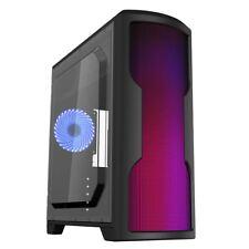Cit Matrix Black Midi ATX PC Gaming Computer Case With Rainbow LED Front Panel