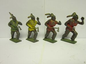 4 Vintage Barclay Manoil Cast Iron Indians
