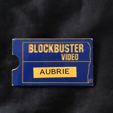 Vintage Blockbuster Video Name Tag, Aubrie, Classic Blue And Yellow circa 1999