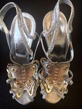 JUST CAVALLI Silver Leather Stiletto Heels In EUR39 UK6. Wedding / Parties NEW