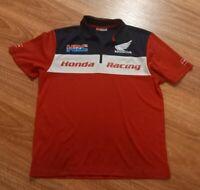 HONDA Men Top Genuine Honda HRC Honda Zip Polo Shirts Size XL Racing
