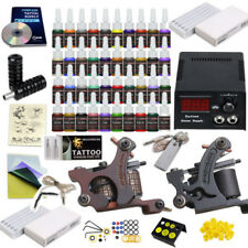Complete Tattoo Kit Set 40 color Inks Power Supply 2 TOP Machine Guns AUBIG