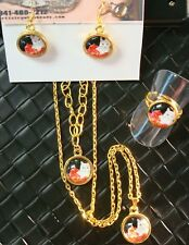White CAT Red Pillow glass jewelry set necklace bracelet earrings ring CTE005gs