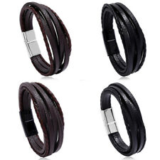 Punk Mens Leather Multilayer Rope Bracelet Wristband Braided Cuff Wrap Bangle