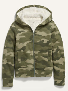 Old Navy Kids Girls Cozy Sherpa-Lined Zip Up Hoodie Size XS, Small or Medium