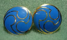 Vintage Blue Enamel Inlay Cloisonne Pierced Earrings Gold Plated Button Style