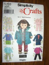 """18"""" DOLL Simplicity 5733 Heigl Pattern Fits American Girl Quilted Jacket Jeans"""