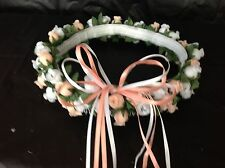 Peach & white Silk Poly Rose Halo Flower Girl Head Piece Band Green Leaves