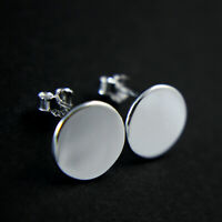GENUINE 925 Sterling Silver Polished Finish Plain Disc Stud Earrings UK New