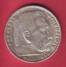R* GERMANY 5 MARK SILVER 1936 F HINDENBURG aVF DETAILS