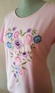 Damen Van Laack T-Shirt Rosa #Blumen #Stickerei Kurzarm Baumwolle Elasthan Gr 42