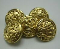 """Lot of 5 Vintage Brass Buttons Intricate Floral Pattern 1/2"""" Diameter T5"""