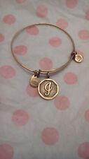Alex & Ani J Letter Initial Gold Charm Bangle Bracelet