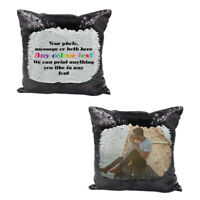 Personalised black sequin cushion cover with any photo/gift message - su425