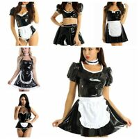 Women's Sexy Wet Look Leather French Maid Cosplay Costume Outfit Fancy Dress Set