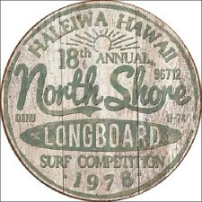 North Shore Longboard Surf Competition Hawaii Round Vintage Retro Metal Tin Sign
