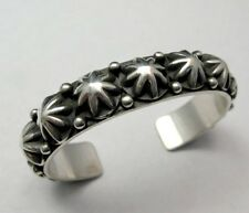 Navajo Old Pawn Style Star Button Studded Sterling Silver Bracelet, Happy Piasso
