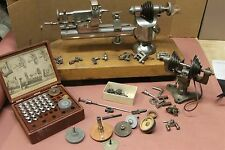 W D Clement Precision 10MM Watchmakers Lathe Swivel Base Antique & Collet Set