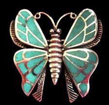 20b9fccb9d37 Plata de Ley Turquesa Mariposa Broche Pin Estilo Art Deco Vintage 1