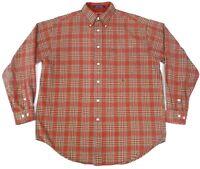 Vintage Tommy Hilfiger Mens Medium Plaid Flannel Shirt Red White Distressed