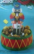 New Sealed Vintage Bucilla Nutcracker Nut Dish/Bowl Plastic Canvas Christmas Kit
