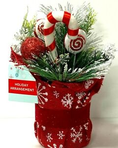 Holiday Arrangement Candy Cane Christmas Center Piece Basket Table Décor