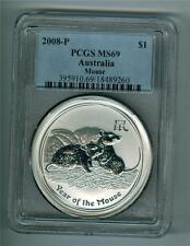 AUSTRALIA 2008 1 DOLLAR 1 OZ. .999 SILVER MOUSE PCGS MS-69 GEM BU